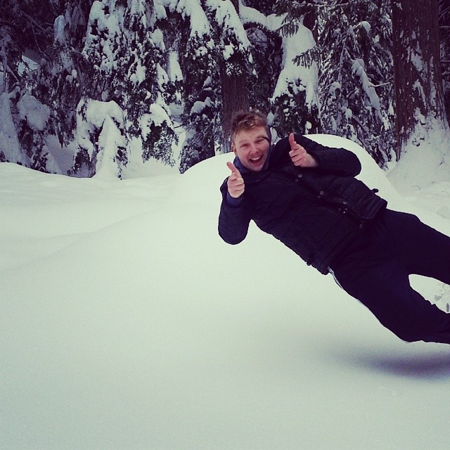 Jumping in 5ft snow cause why not? #nakusphotsprings #jolo #sowet - samlay92